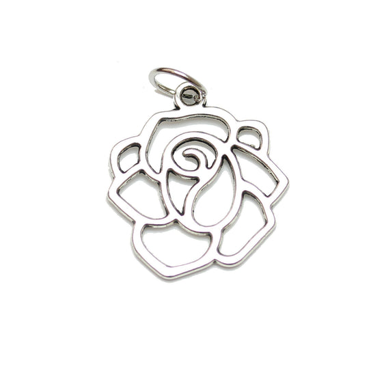 Antique Silver Plated Flower Charm 18mm  - 2pcsCharm by Halcraft Collection