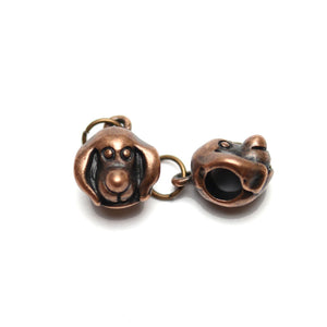 Antique Copper Tone Puppy Bead Large (5mm ) Hole 10mm  - 2pcsCharm by Bead Gallery