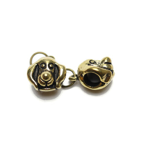 Antique Gold Tone Puppy Bead Large (5mm ) Hole 10mm  - 2pcsCharm by Bead Gallery