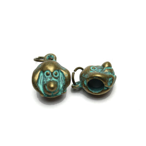 Patina Plated Puppy Bead Large (5mm ) Hole 10mm  - 2pcsCharm by Bead Gallery