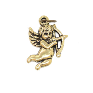 Charms, Charm, Charm Beads, Charm Bead, Gold Tone, Antique, Cupid, Cupid Charm, Cupid Charms, Antique Gold, Gold, Metal, 15x22mm, 15mm, 22mm