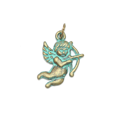 Charms, Charm, Charm Beads, Charm Bead, Plated, Patina Plated, Cupid, Cupid Charm, Cupid Charms, Patina, Turquoise, Blue, Metal, 15x22mm, 15mm, 22mm