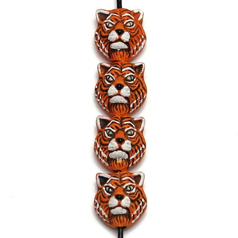 Beads, Bead, Ceramic, Porcelain, Fetish, Clay, Hand Made, Hand Painted, Artisan, Nature, Peru, Peruvian, Peruvian Ceramic Beads, Peruvian Ceramic Bead, Peruvian Beads, Peruvian Bead, Ceramic Beads, Ceramic Bead, Porcelain Beads, Porcelain Bead, Tiger, Orange, White, Black, 10x11mm, 1.5mm Hole Size, Big Hole Beads, 11mm, 10mm