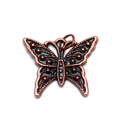 Charms, Charm, Charm Beads, Charm Bead, Copper Tone, Antique, Butterfly, Butterfly Charm, Butterfly Charms, Antique Copper, Copper, Metal, 20x24mm, 20mm, 24mm