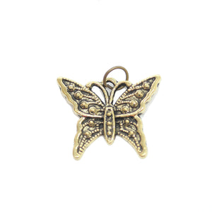 Charms, Charm, Charm Beads, Charm Bead, Gold Tone, Antique, Butterfly, Butterfly Charm, Butterfly Charms, Antique Gold, Gold, Metal, 20x24mm, 20mm, 24mm