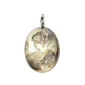 Carved Black Lip Shell Cameo 30x40mm PendantPendant by Halcraft Collection