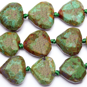 22mm  Triangle Faceted Green Dyed Agate