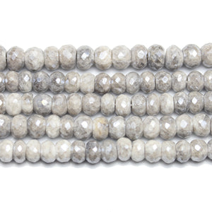 Beads, Bead, Semi Precious, Semiprecious, Semi-Precious, Stone, Stone Beads, Stone Bead, Opal Stone, Opal Faceted Stone, Rondell, Opal, Natural, White, Grey, Faceted, Luster, 5x7mm, 5mm, 7mm