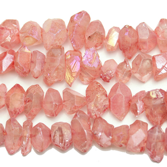 Watermelon Coated Quartz Stone Cut Nugget 10-25mm Beads by Halcraft Collection