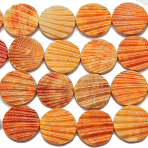 Philippine Orange Dyed Pectin Nobilis Shell Round Lentil 20mmBeads by Halcraft Collection