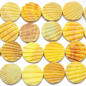 Philippine Yellow Dyed Pectin Nobilis Shell Round Lentil 20mmBeads by Halcraft Collection