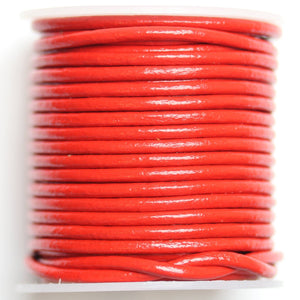 Real Leather Cording 2mm Candy Apple Red PolishedCording de Bead Gallery