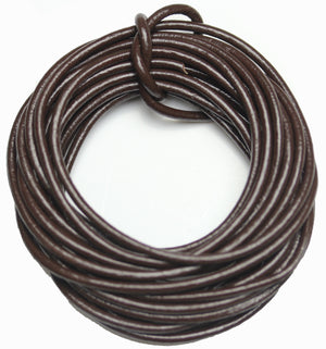 Real Leather Cording 2mm Dark Brown Polished