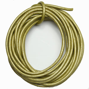 Real Leather Cording 2mm Gold Metallic MatteCording de Bead Gallery