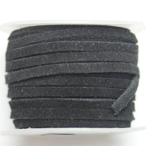 Natural Suede Cording 3mm  Flat BlackCording by Bead Gallery