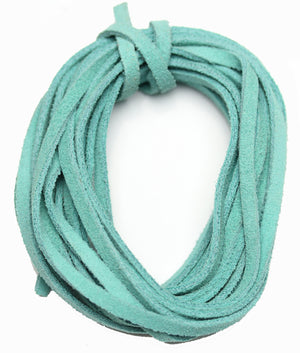 Cording, Cord, Cords, Leather, Suede, Dyed Suede, 3mm, 3 Meter Cord, 10 Meter Cord, Turquoise, Turquoise Cord