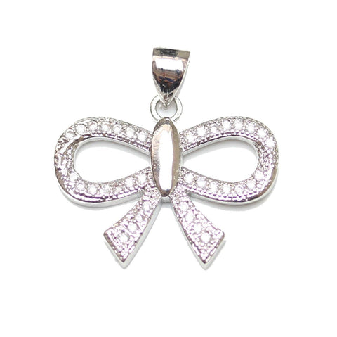 Pendant, Pendants, Cubic Zirconia, Cubic Zirconia Pendant, Cubic Zirconia Pendants, CZ Pendants, CZ Pendant, (CZ), Cubic Zirconia (CZ), Zicornia, Metal, Rhodium Plated, Silver, Pave, Pave Pendant, Crystal, Bow, Bow Pendant, 15x20mm, 15mm, 20mm