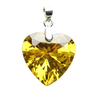 Amber Cubic Zirconia Faceted 20mm  HeartPendant by Bead Gallery