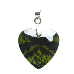 Olivine Cubic Zirconia Faceted 20mm HeartPendant de Bead Gallery