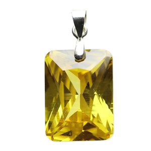 Amber Cubic Zirconia Faceted 15x20mm  Rectangle PendantPendant by Bead Gallery