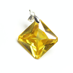 Amber Cubic Zirconia Faceted 20mm  Square PendantPendant by Bead Gallery