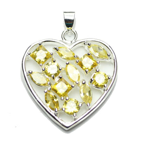 Amber Cubic Zirconia Faceted Flowery Heart 25mm  PendantPendant by Bead Gallery
