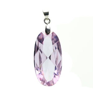 Light Amethyst Cubic Zirconia Faceted 15x30mm  Oval PendantPendant by Halcraft Collection