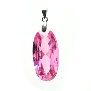Rose Pink Cubic Zirconia Faceted 15x30mm  Oval PendantPendant by Bead Gallery