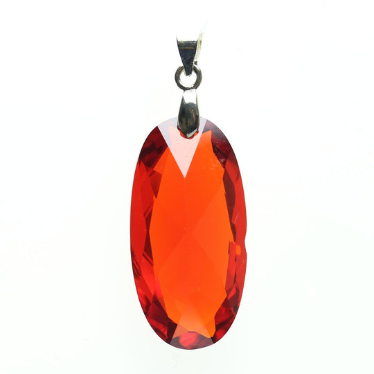 Ruby Red Cubic Zirconia Faceted 15x30mm  Oval PendantPendant by Bead Gallery