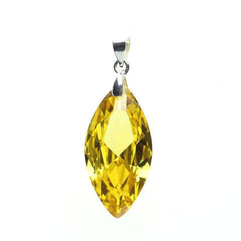 Pendant, Pendants, Cubic Zirconia, Cubic Zirconia Pendant, Cubic Zirconia Pendants, CZ Pendants, CZ Pendant, (CZ), Cubic Zirconia (CZ), Zicornia, Metal, Silver, Oval, Oval Pendant, Citrine, Amber, 14x28mm, 14mm, 28mm, Faceted