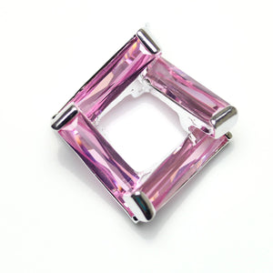 Rose Pink Cubic Zirconia Twisted Cube 23mm Colgante Colgante de Bead Gallery