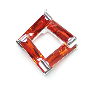 Ruby Red Cubic Zirconia Twisted Cube 23mm  PendantPendant by Halcraft Collection