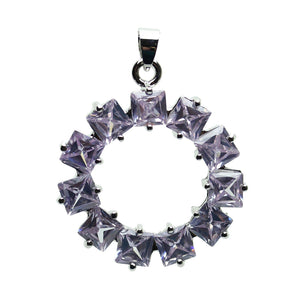 Lavender Cubic Zirconia Faceted 35mm  Circle PendantPendant by Halcraft Collection