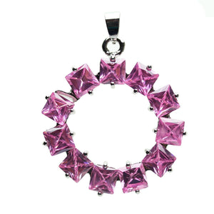 Rose Pink Cubic Zirconia Faceted 35mm  Circle PendantPendant by Halcraft Collection