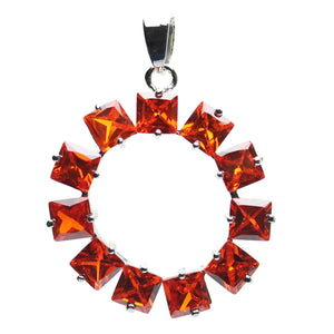 Ruby Red Cubic Zirconia Faceted 35mm  Circle PendantPendant by Halcraft Collection