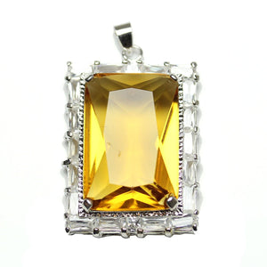Amber Cubic Zirconia Faceted 27x37mm  Rectangle PendantPendant by Halcraft Collection