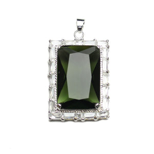 Olivine Cubic Zirconia Faceted 27x37mm  Rectangle PendantPendant by Halcraft Collection