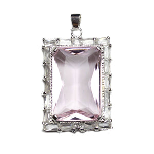 Light Rose Pink Cubic Zirconia Faceted 27x37mm  Rectangle PendantPendant by Halcraft Collection