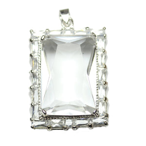 Crystal Cubic Zirconia Faceted 27x37mm  Rectangle PendantPendant by Halcraft Collection