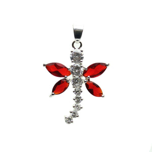 Cubic Zirconia Ruby Red Winged Dragonfly 25x30mm  PendantPendant by Halcraft Collection