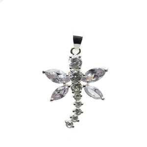 Cubic Zirconia Lavender Winged Dragonfly 25x30mm  PendantPendant by Halcraft Collection