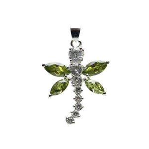 Cubic Zirconia Peridot Winged Dragonfly 25x30mm  PendantPendant by Bead Gallery