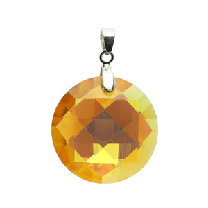 Pendant, Pendants, Glass, Glass Pendant, Glass Pendants, Faceted Pendant, Round, Round Pendant, Round Pendants, 30mm, Amber, Yellow