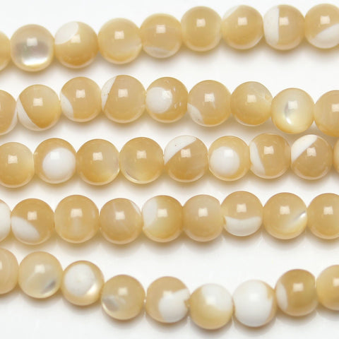 Beads, Bead, Shell, Shell Beads, Shell Bead, Mother of Pearl, Mother of Pearl Beads, Mother of Pearl Bead, MOP, Round, Round Bead, Round Beads, White, Amber, Natural, 4mm
