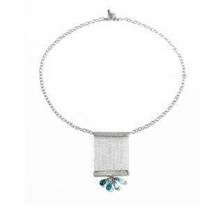 Topaz, Moonstone, Silver Plated, Natural Stone, Necklace, Blue