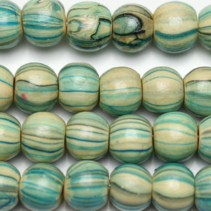 Beads, Bead, Wood, Wood Beads, Wood Bead, Round, Round Beads, Round Bead, Green, Amber, Natural, 8mm, Superba, Chinese Elm, Printed, Printed Stripe, Stripe