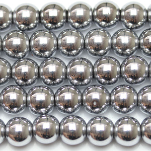 Silver Iris Coated Hematine Round 8mm  - 16 inchesBeads by Halcraft Collection