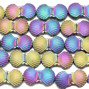 Multi Iris Coated Hematine Shell 8mm  - 15 inchesBeads by Halcraft Collection
