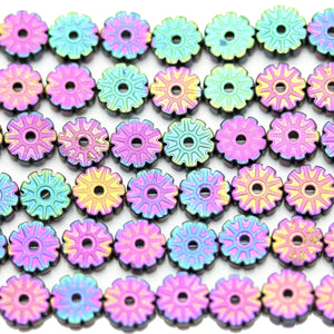 Multi Iris Coated Hematine Flower 6mm  - 15 inchesBeads by Halcraft Collection