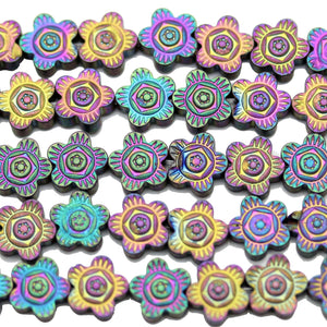 Multi Iris Coated Hematine Flower 8mm  - 15 inchesBeads by Halcraft Collection